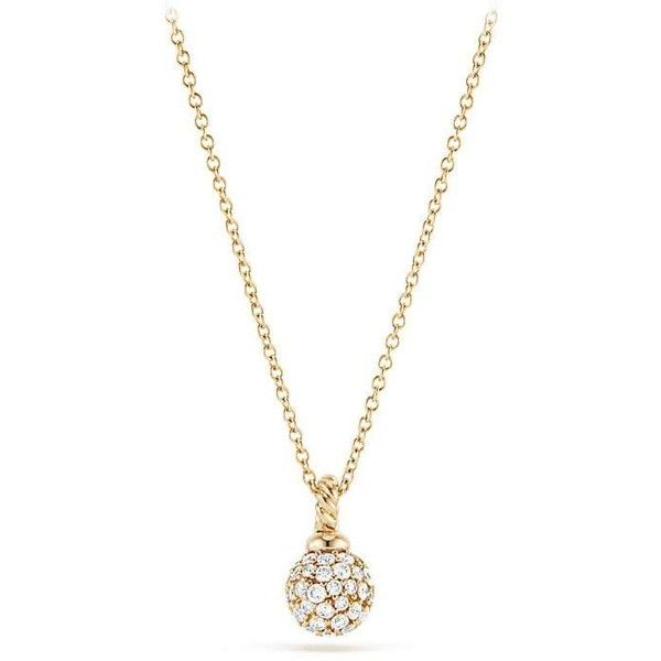 David Yurman Petite Solari Pave Pendant Necklace with Diamonds in 18K... ($1,250) ❤ liked on Polyvore featuring jewelry, necklaces, yellow gold necklace, 18k gold necklace, long necklace, long diamond necklace and gold necklace