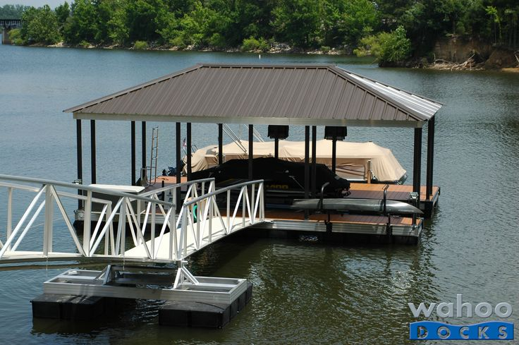 The Wahoo Dock of the Month for May 2013. This 460 sq. ft. Cat 5 dock will keep boats, both large and small, safely moored with its boat lift and canoe rack.