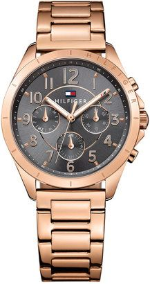Tommy Hilfiger Women's Kingsley Rose Gold-Tone Stainless Steel Bracelet Watch 36mm 1781606 #watches #womens