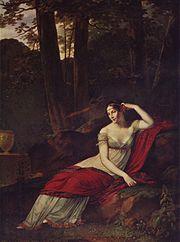 @PinFantasy - Pintura romántica - Retrato de Josefina, por Pierre-Paul Prud'hon, 1805, óleo sobre lienzo, 244 × 179 cm, Museo del Louvre, retrato cortesano ambientado en plena naturaleza para dotarlo de mayor naturalidad.