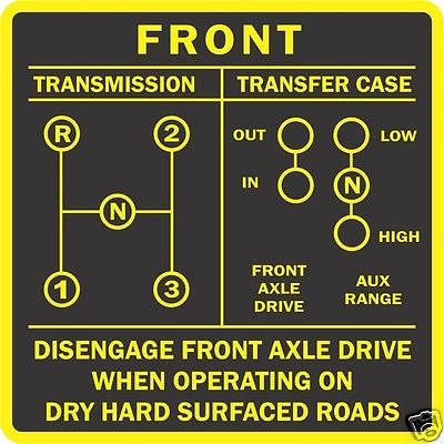 Decals For Cars >> CJ Willys JEEP T90 TRANSMISSION SHIFT PATTERN 3 speed ...