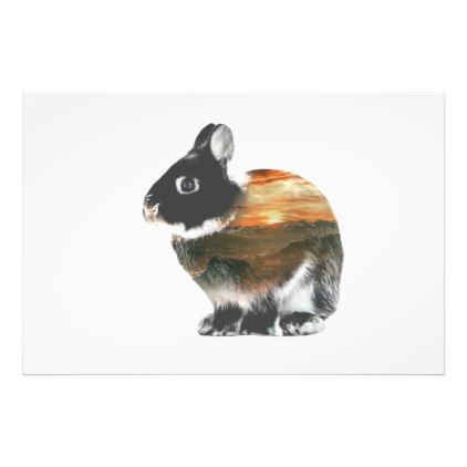 #Rabbit Double Exposure Photo Print - #giftsforher #gift #gifts #her