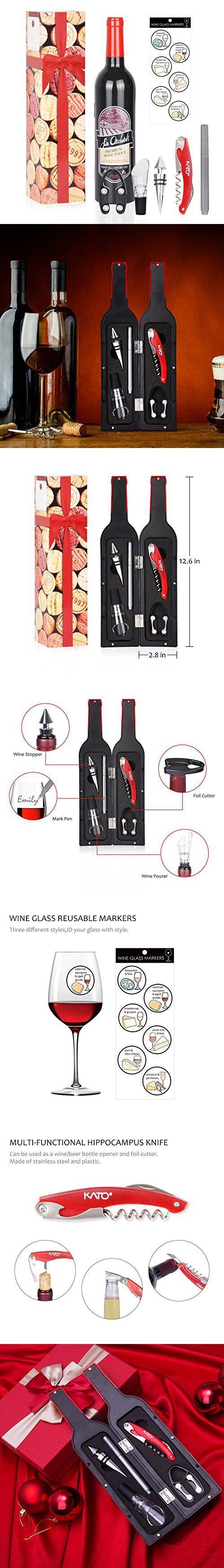 Wine Opener Accessories Gift Set - Christmas 5 Pcs Wine Bottle Corkscrew Screwpull Kit by Kato, Best Wedding Birthday Gifts for Wine Lover, Red