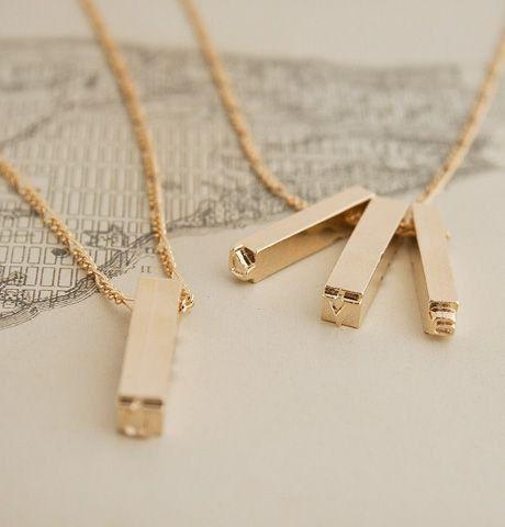 Letterpress Necklace (Gold Plate) $75