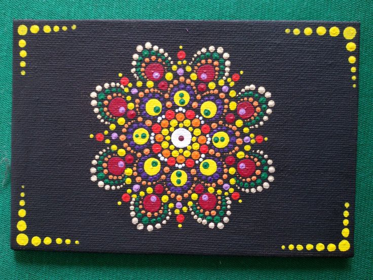 Mandala dipinto a mano su cartone telato 10 x 15