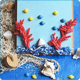 Il collage del mare tropicale da creare con i bambini. Trovate le istruzioni qui: http://www.piccolini.it/piccolini-time/#avventura/i-tropici/