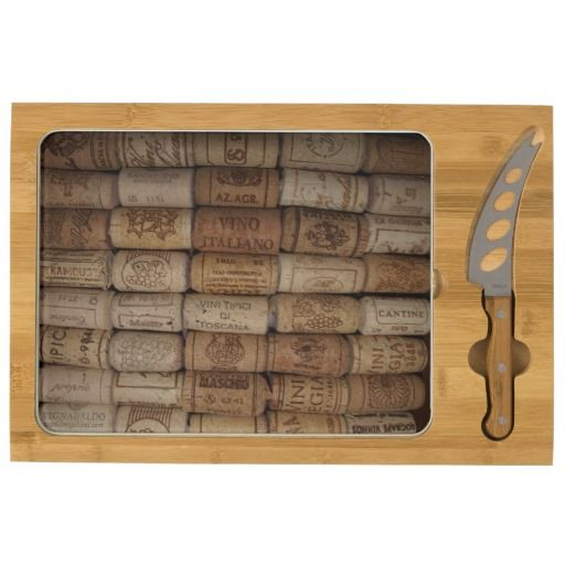 Looking for a perfect gift for your hostess? Italian wine cork collection cutting board rectangular cheeseboard
