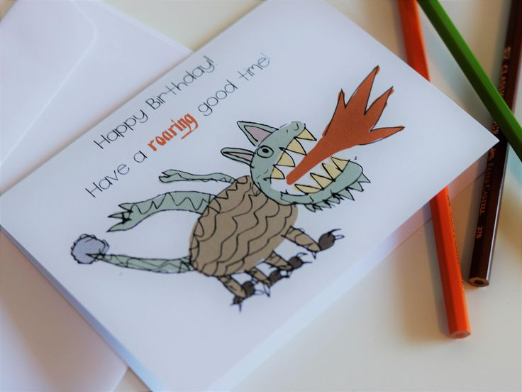 Dragon Birthday Card for son, Boy Birthday Card with Monster Dragon breathing fire, Hand-drawn cute & funny Dragon Birthday Card for him by PaperColada on Etsy