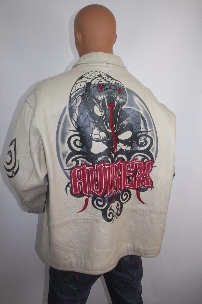 RARE! LEATHER BEIGE JACKET AVIREX UNIQUE & LIMITED # 424 SIZE 5XL   Big Size #AVIREX #Jacket