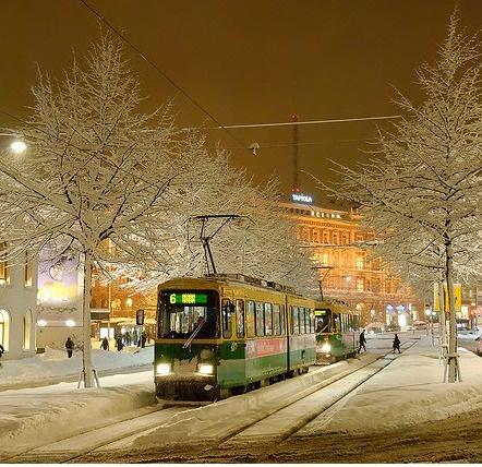 snowy evening in helsinki, by niklas sjöblom