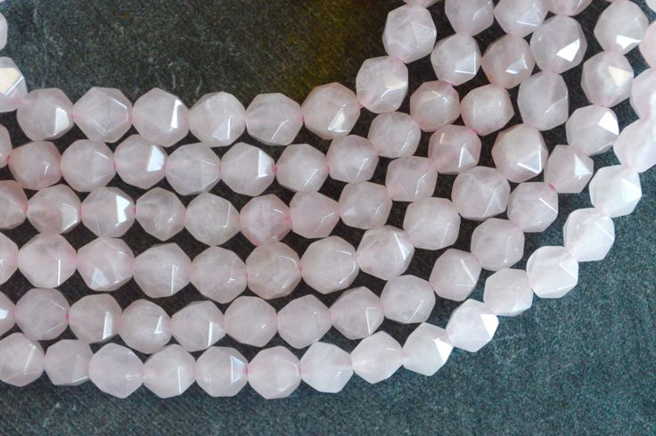 6mm Rose Quartz Faceted Stone Beads Natural Gemstone (9) Pale Pink Gemstone, Natural Quartz Light Pink Stone Beads by TheBeadBandit on Etsy
