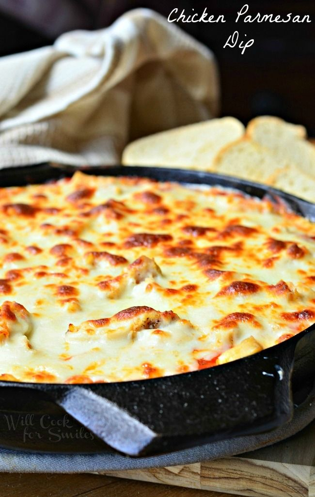 Chicken Parmesan Dip. This is one amazing, cheesy, creamy, gooey dip. | from willcookforsmiles.com