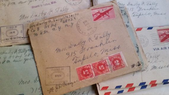 You will receive one WWII love letter for your collection or altered art project. Make great gifts for history buffs. Your letter will either be
