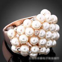 Jemné šperky vintage kameň krištáľ vykladaný prsteň ružové zlato, platina pozlátené krúžky pre ženy New výpredaj R143