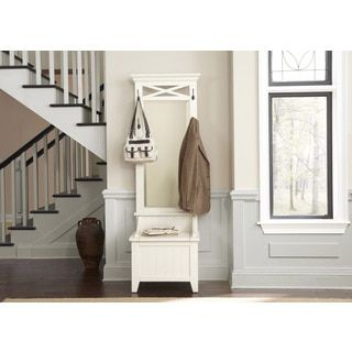 Shop for Hearthstone Rustic White Hall Tree With Bench Storage. Get free shipping at Overstock.com - Your Online Furniture Outlet Store! Get 5% in rewards with Club O!