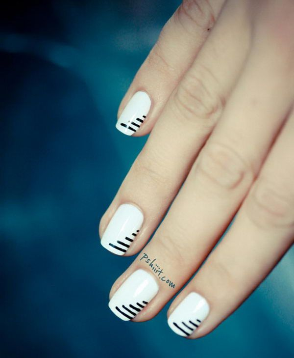 Cool Stripe Nail Art. Very cute design with clean lines!