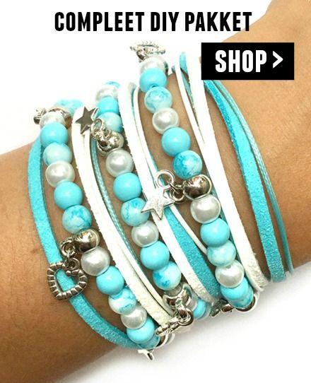 diy wikkelarmband pakket - blauw met wit zelf maken