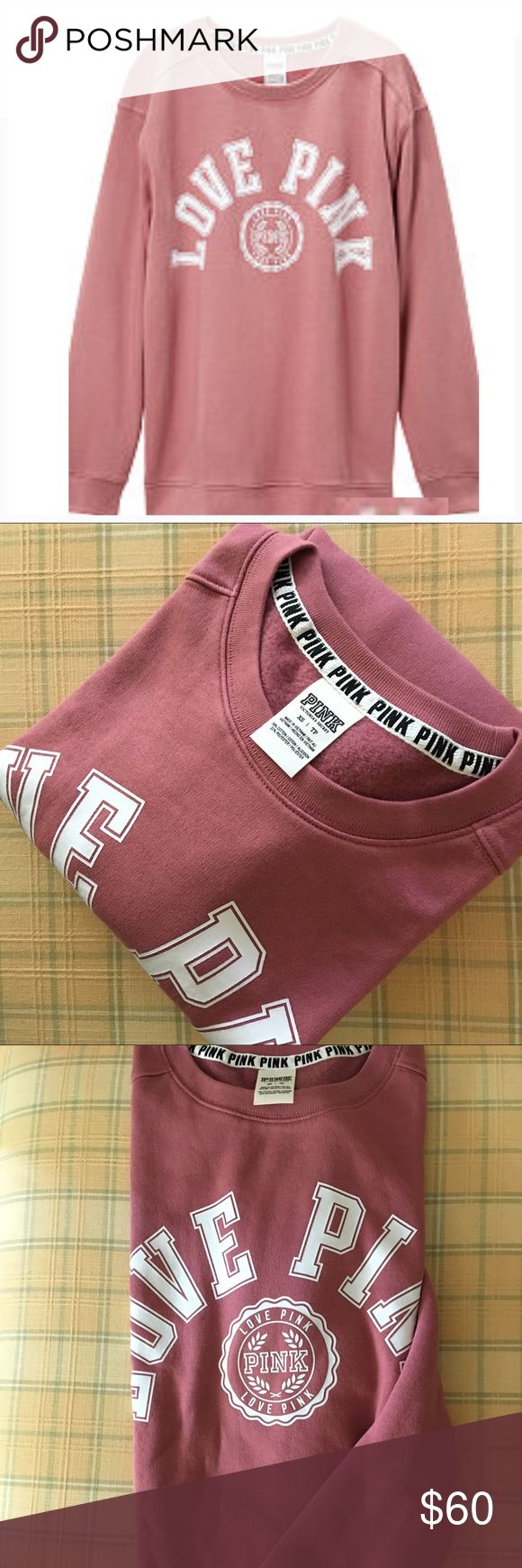 Victoria's Secret PINK Crew Rare Color Comfy and over sized,this classic crew is perfect for game day! From the Victoria's Secret PINK Collegiate Collection.  Oversized Comfy....RARE Color is Soft Begonia PINK Victoria's Secret Tops Sweatshirts & Hoodies