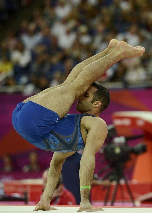 Danell Leyva of the U.S. competes in the floor exercise event during the men's gymnastics qualification in the North Greenwich Arena during the London 2012 Olympic Games July 28, 2012