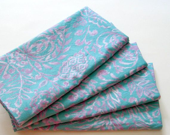 Cloth Napkins  Set of 4  Ikat Blue Purple  Dinner by ClearSkyHome, $18.00