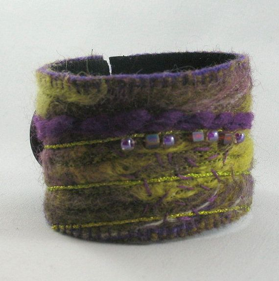 Purple and Green Felted Cuff Bracelet by KathyKinsella on Etsy