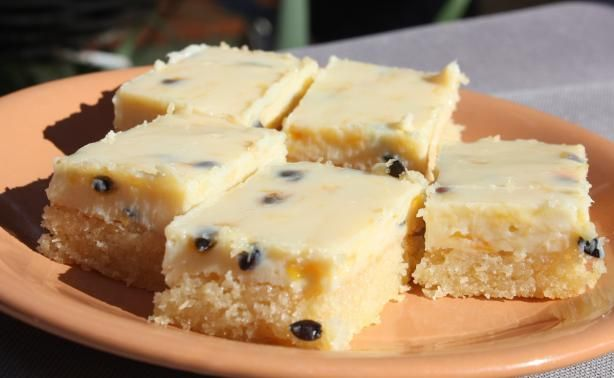 Easy Passionfruit Slice / Bars. Photo by Leggy Peggy
