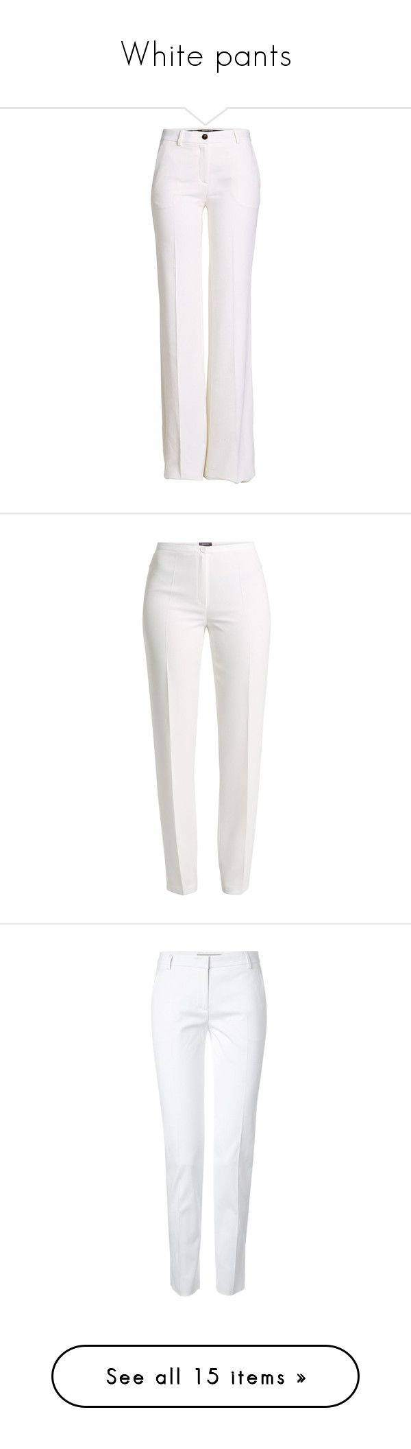 """White pants"" by siririachi ❤ liked on Polyvore featuring pants, bottoms, white, roberto cavalli, wide leg pants, white wide leg pants, cotton trousers, cotton pants, trousers and jeans"