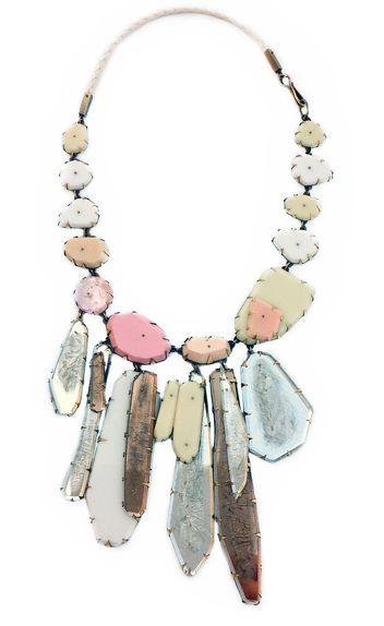 Nikki Couppee Jewelry. Silver Crystal Necklace--Plexiglass, brass, found object, resin/ 17x8x.5. 2013