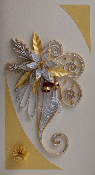This card is completely handmade by Quilling technique. It is unique, designed and made ​​by me in a single copy and bond paper. Masking tapes are han