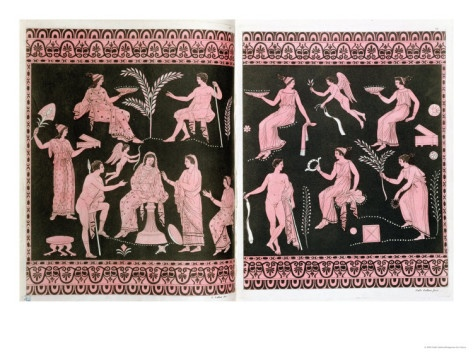 Scene of Initiation into the Eleusinian Mysteries, after Greek Antique Vases