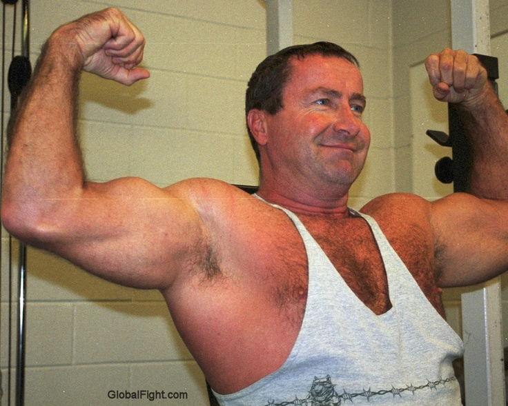 muscular older males flexing silverdaddies
