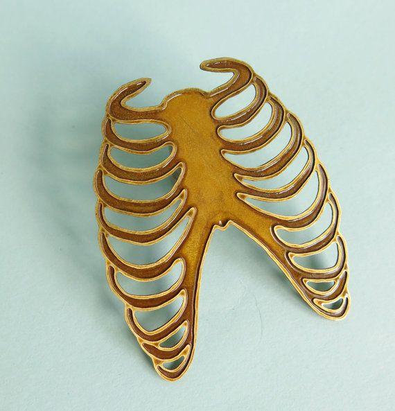 Brass Ribs Brooch by Your Organ Grinder