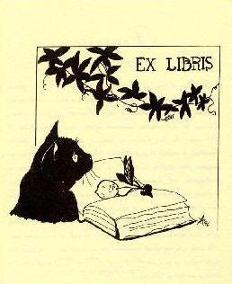 black cat & book, ex libris bookplate, designed by anna aquilini