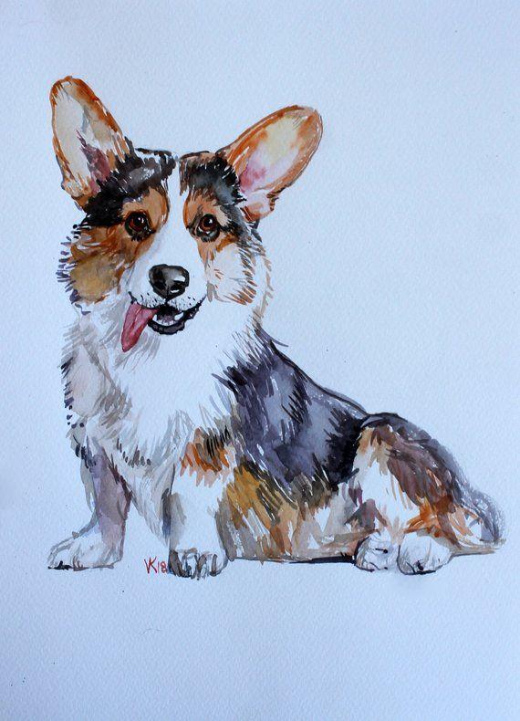 Watercolor Corgi Original Painting Dog Art Gift For Corgi Lovers