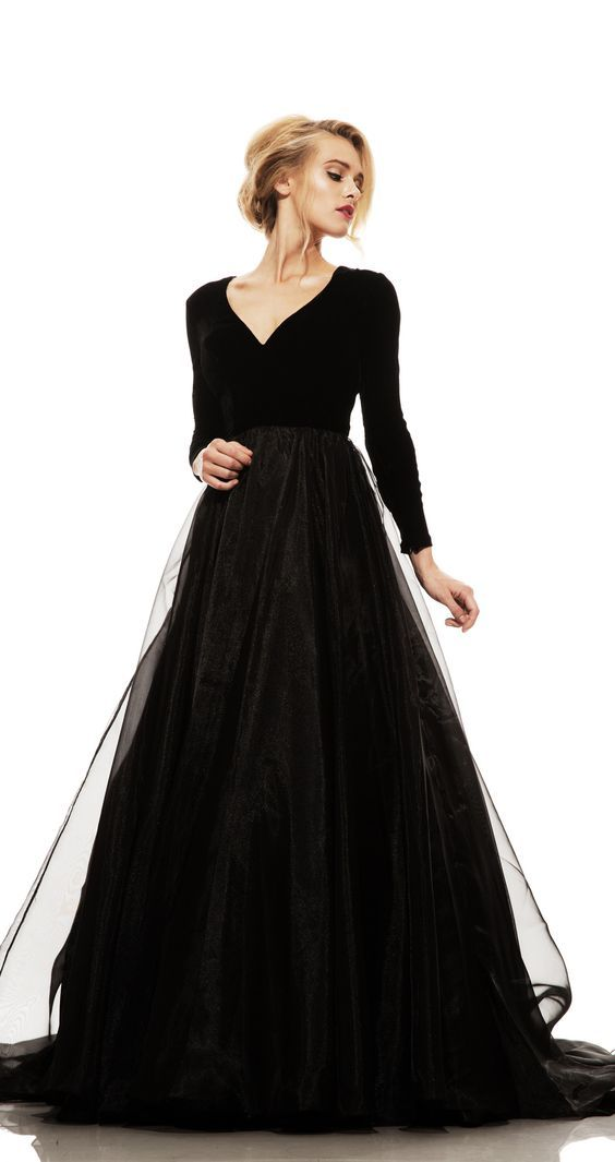 Black Prom Dress,Long Sleeve Prom Dress,Fashion Prom Gowns,MB 324