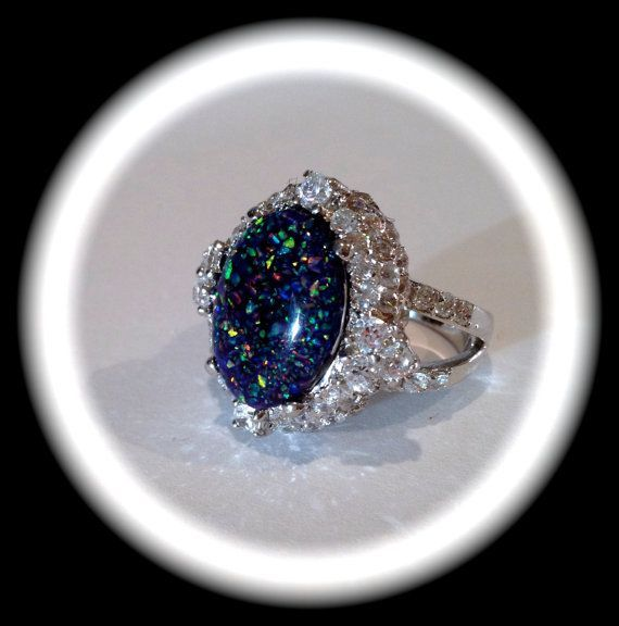 Vintage Black Opal and Pave Estate Jewelry Ring  BestOpalRings.com