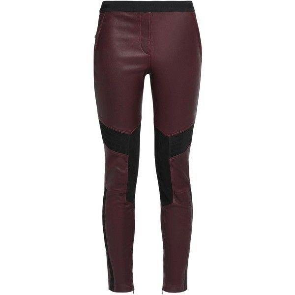 BELSTAFF  Aberford suede-paneled leather leggings (12 430 UAH) ❤ liked on Polyvore featuring pants, leggings, cuff pants, wide-waistband leggings, leather legging pants, burgundy pants and burgundy leggings