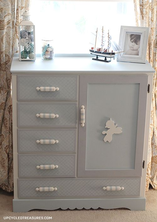 Wow, check out this vintage kids dresser makeover with a hidden chalkboard inside! UpcycledTreasures.com