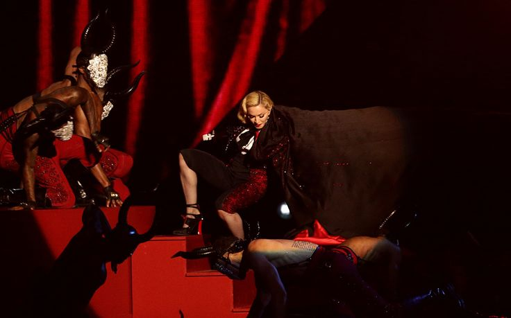 Viewers were stunned when Madonna took a painful-looking tumble during her   performance