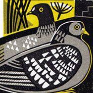 / bird linocut /