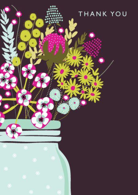 Rebecca Prinn - Dotty Floral Thank You Greeting Card