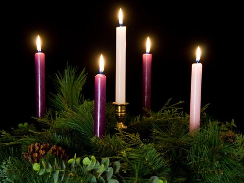 The Advent Wreath.  From the first Sunday in Advent to Christmas Eve, the wreath grows in beauty and light as it helps us recall the hope, peace, love, and joy that comes to us through God's gracious gift of Jesus Christ.