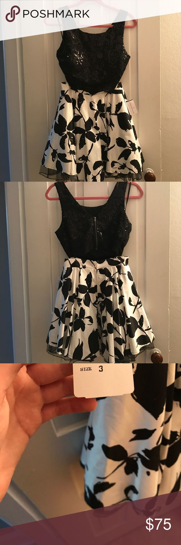 Two piece dress black sparkly cropped top with white skirt with black flowers. never worn WINDSOR Dresses Mini