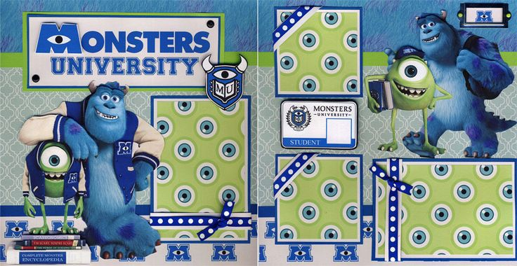 Monster University 2 Premade Scrapbook Pages Paper Piecing Layout 12x12 Cherry | eBay