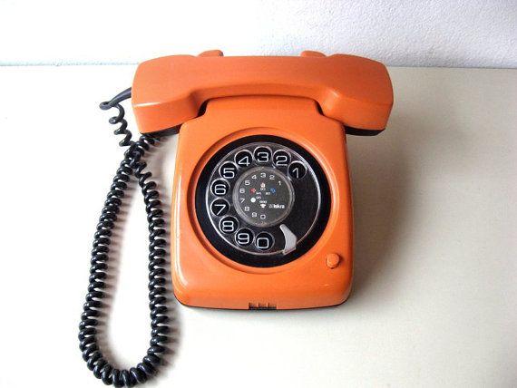 Vintage Iskra Telephone Orange Phone by Lunartics on Etsy
