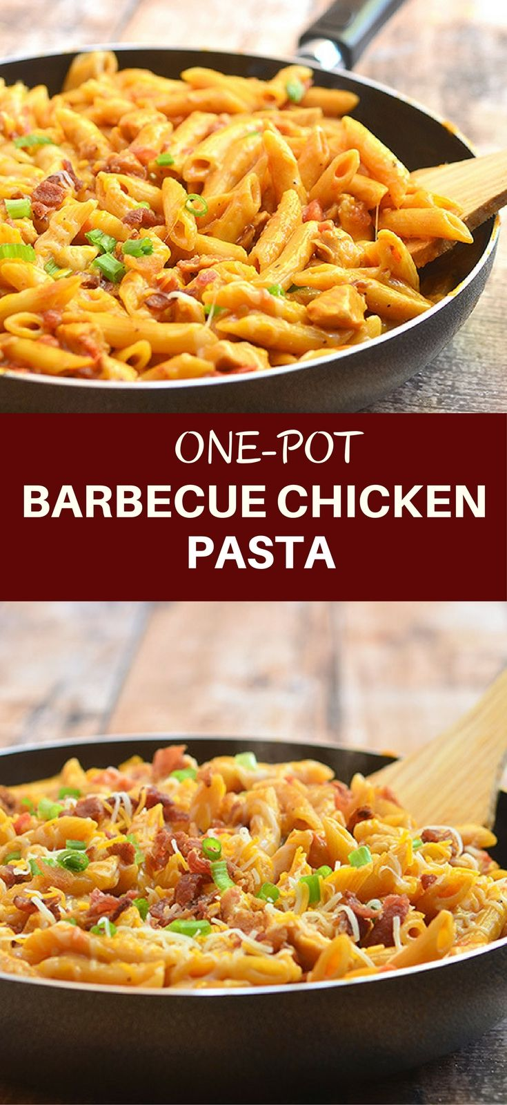 One-Pot Barbecue Chicken Pasta loaded with bacon, chicken, cheese, and BBQ flavors cooked in one pot! Easy, cheesy, and absolutely tasty, it's the perfect weeknight meal!