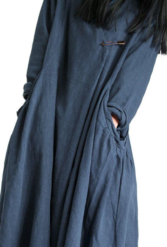 women's linen dress plus size loose long sleeve by babyangella