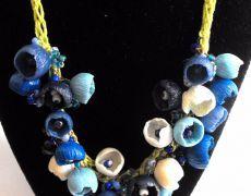 Albastrele/Nu ma uita - colier argila polimerica