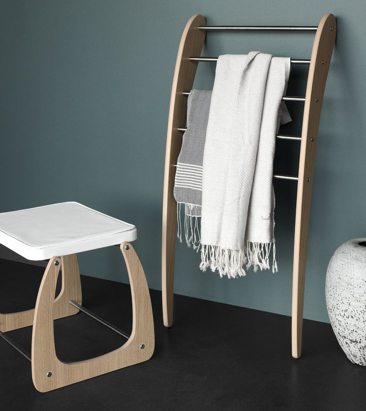 Mobile towel rack – a unique, movable piece of furniture. Step and stool in the same beautiful design.