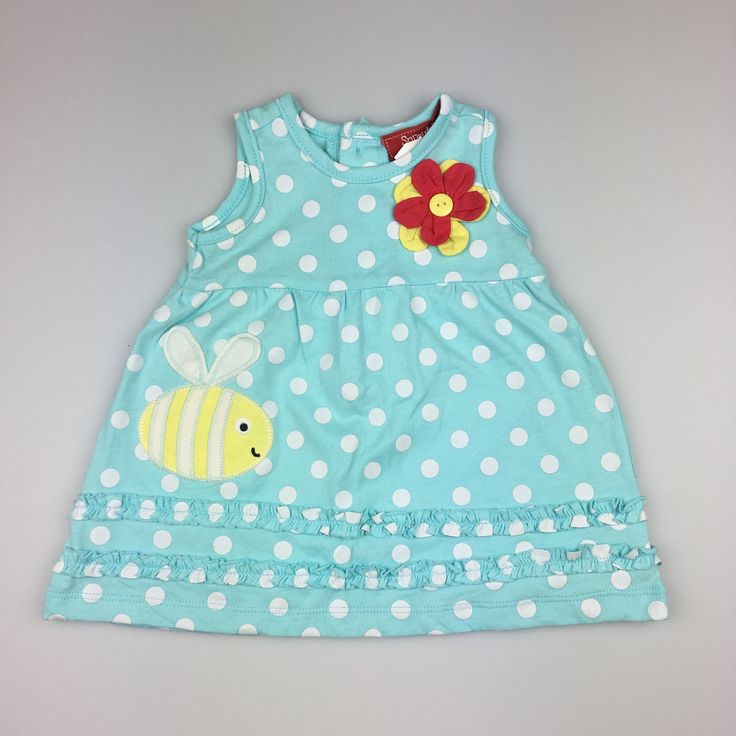 SPROUT, baby girl's cotton dress with applique bee and flower, excellent pre-loved condition (EUC), size 00 (3-6 months), $12